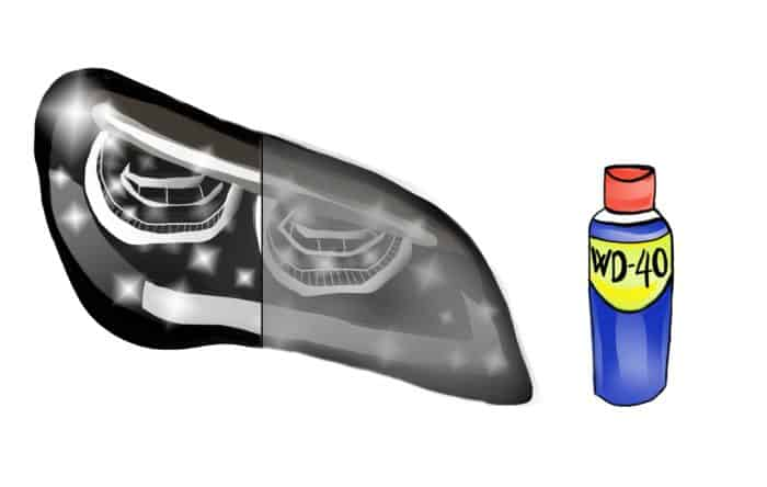 How To Clean Headlights With WD40 - Step 4 Spray your headlight with WD40